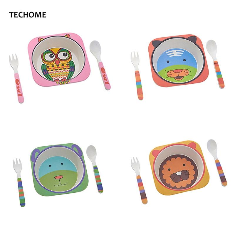 Cute Cartoon Animal Baby Dishes Set Melamine Bowl Fork Spoon Bamboo Tableware Kids Set Girls Boys Plate Infant Feeding Dishes