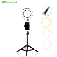 BePotofone Photo Studio Phone Video mini desktop table LED Ring Light 5500K Photography Dimmable Makeup Ring Lamp