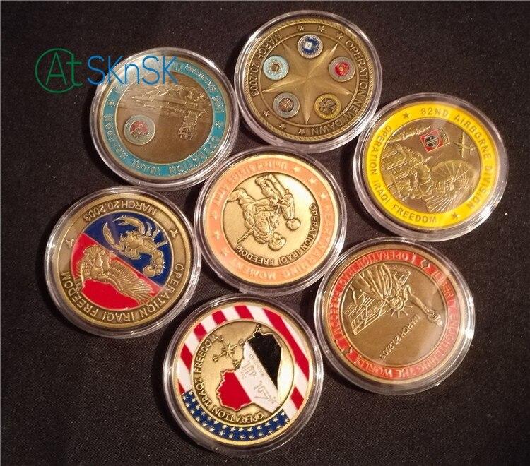 Commercio all'ingrosso libero 7 disegni antiquariato bronzato placcato san giorgio operazione iraqi freedom sfida monete DEGLI STATI UNITI collectiable