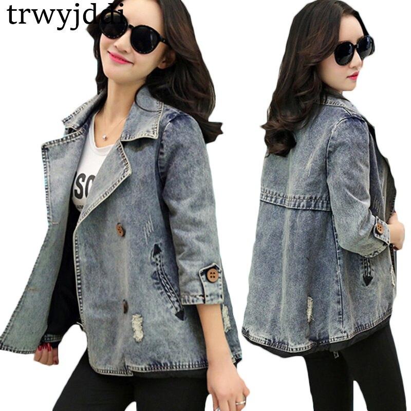 2019 Fashion Spring Jacket Coat Korean Loose Large Size Short Denim Jacket Female Double Breasted Cloak Jacket hl387