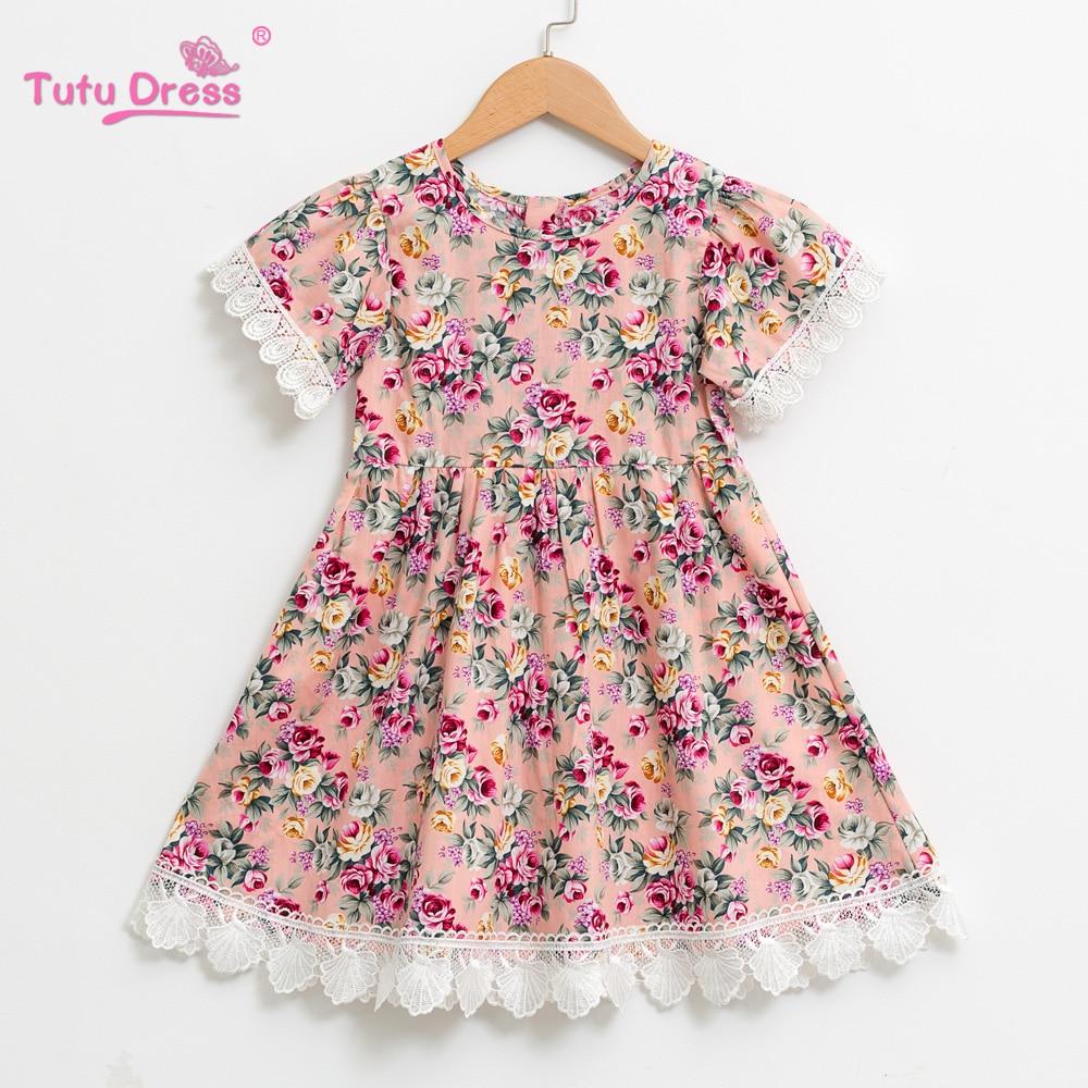 2018 New Lace Dress Princess Kids Baby Girls Clothes Short-sleeve Floral Cute Party Wedding Dress Children Summer Sundress цены онлайн