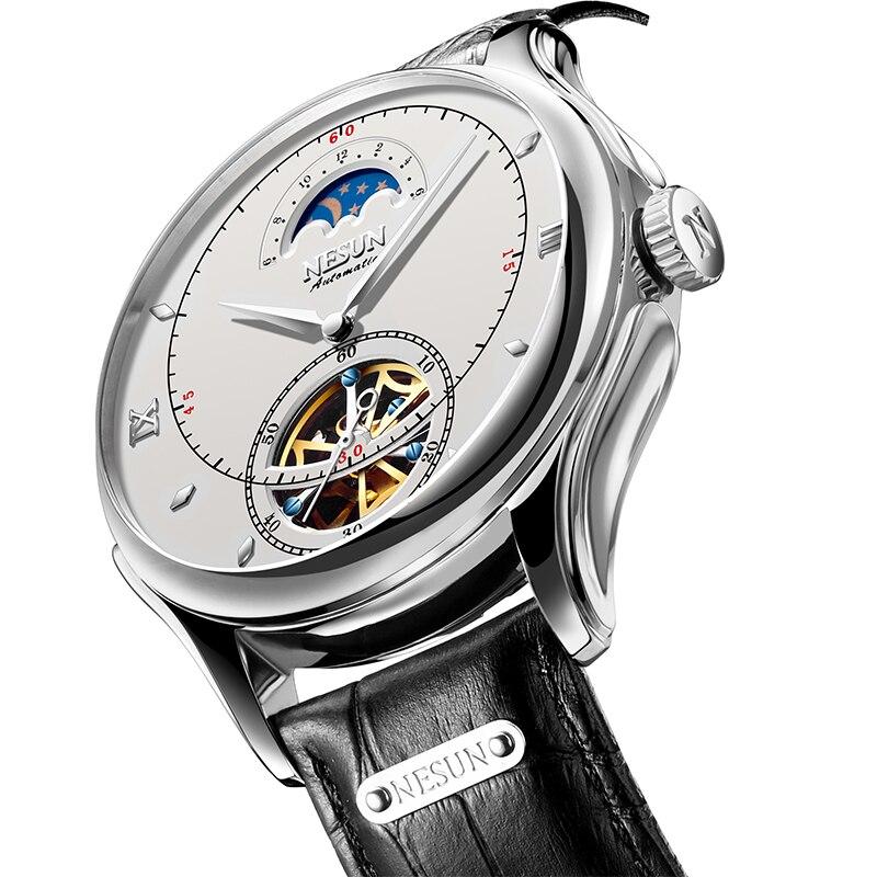 Nesun Tourbillion Men s Watches Automatic Mechanical Skeleton Watch Men Luxury Brand Waterproof relogio masculino clock
