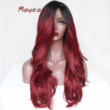 Ombre Red Long Straight Synthetic Lace Front Wig Heat Resistant Hair Wi
