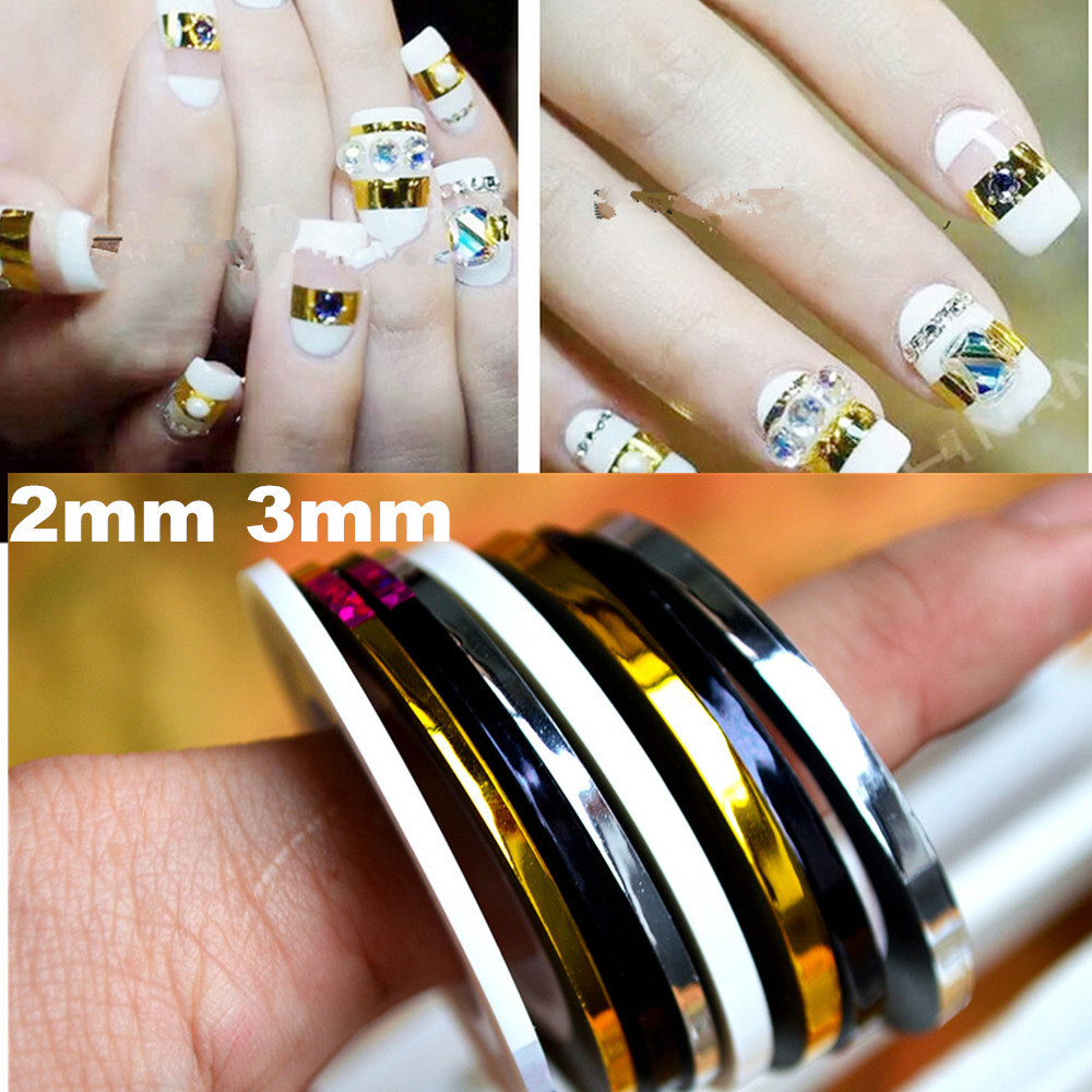 10pcslot 2mm 3mm metal stripe line nail sticker six color nail 10pcslot 2mm 3mm metal stripe line nail sticker six color nail rolls striping tape line nail decoration wholesale in stickers decals from beauty health prinsesfo Choice Image