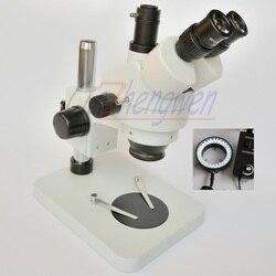 Darmowa dostawa!! 7X-45X tabeli filar stojak Zoom powiększenie trinokularnej mikroskop stereo + 60 LED