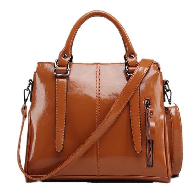 Soft Solid Pu Pvc Patent Leather Ping Beige Orange Tote Handbag Woman S