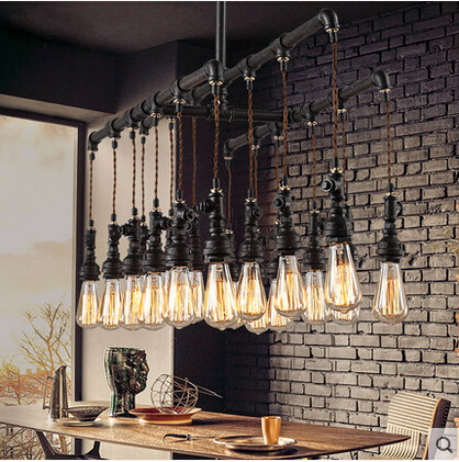 все цены на Water pipe Steampunk Vintage pendant lights for dining room Bar rust red home decoration American industrial loft  hanging light онлайн