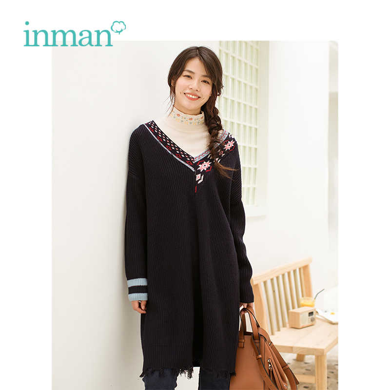 INMAN зима Новое поступление женское платье с v образным вырезом вышивкой мехом