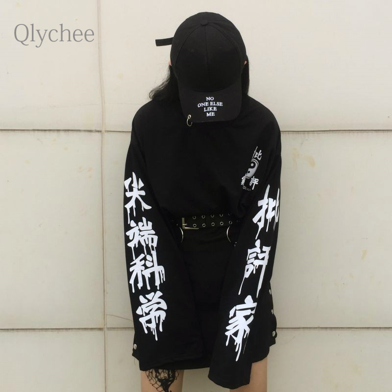 Qlychee Fashion Cutting Edge Science Letter Print Tshirt Women Long Sleeve Loose Tops Casual Harajuku Long