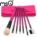MSQ Marca Pro 7 pcs Pêlo de Cabra de Alta Qualidade & Cabelo Sintético Makeup Brushes Set Cosméticos Ferramenta Com Capa de Couro PU para a Moda Beleza