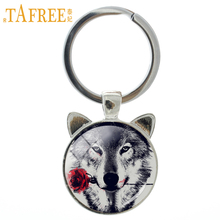 Vintage black wolf with flower rose keychain Snarl Snow Wolf keyring dire wild animal charms key chain ring holder jewelry CN782
