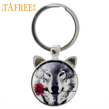 TAFREE Vintage Black Wolf With Flowe Rose Keychain Snarl Snow Wolf Keyring Wild Animal Charm Key Chain Ring Holder Jewelry CN782(China)