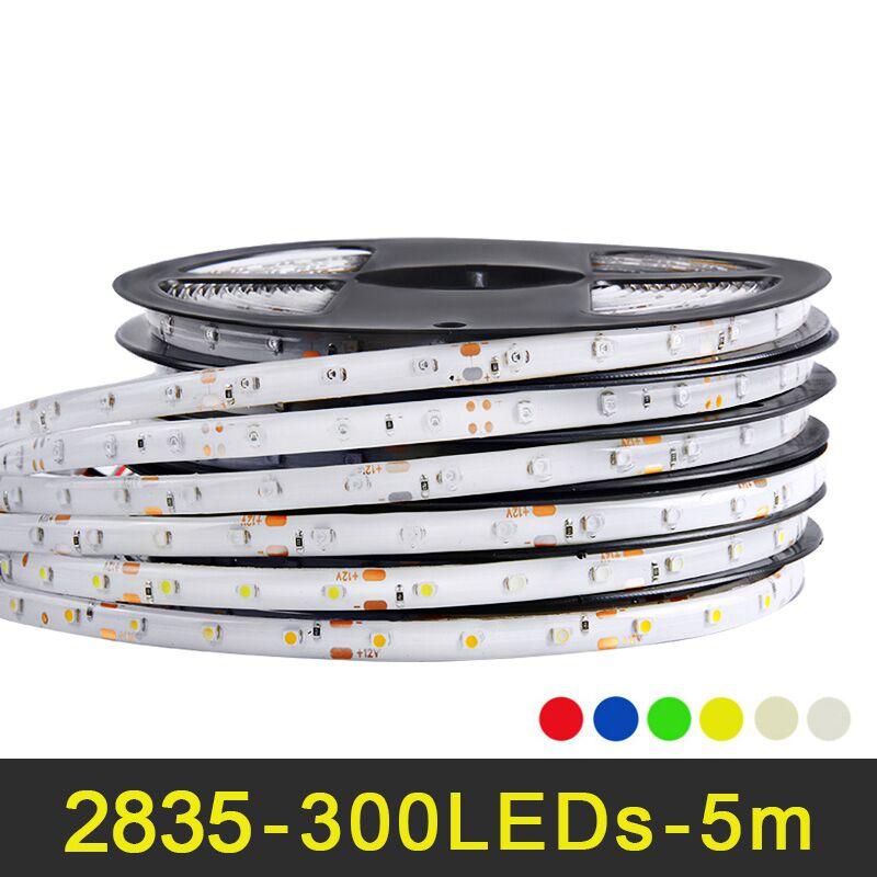 RGB LED strip light 5m 60LEDs/m SMD 2835 LED strip DC 12V IP65 Waterproof flexible Tape White Warm White Red Green Blue Yellow 300x3528 smd led 3500k warm white light flexible strip 5 meter dc 12v
