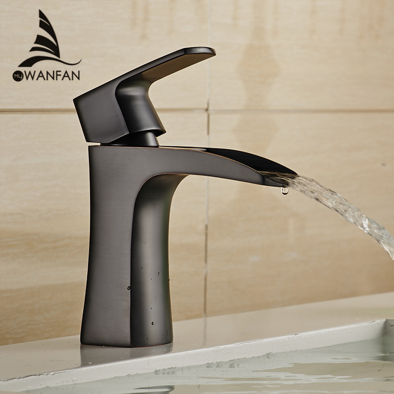 все цены на Basin Faucets Black Brass Waterfall Bathroom Basin Faucet Square Spout Single Handle Deck Vanity Sink Mixer Water Taps LH-16960 онлайн