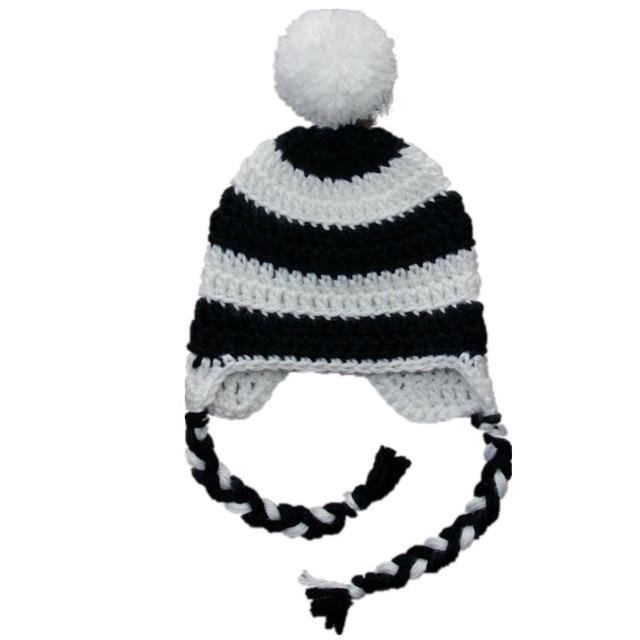 White Black Striped Hat,Handmade Knit Crochet Baby Boy Girl Pompom ...