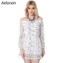 Aelorxin 2017 Women Sexy Mini Summer Dress Slash Neck Vestidos Sequined Ukraine Party Dresses Brazil Female Vestidos Mujer
