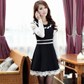 New Fashion Peter Pan Collar Lace Floral Teenage Girls Dresses for Party Wedding 13-20Y Elegant Lady Long Sleeve Patchwork Dress
