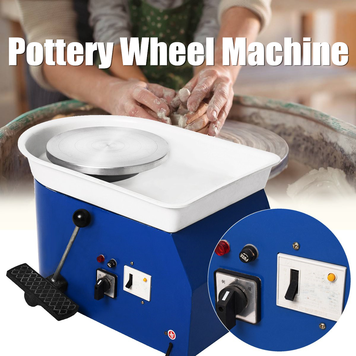 250W 220V Pottery Forming Machine Pottery Wheel Ceramic Machine Ceramics DIY Clay Machine polish pottery spoon rest blue bells
