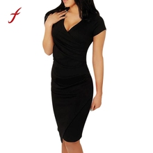 b92c2126ef2ec3 Womens Elegante Slanke Jurk Korte Wear Werken Kantoor Business Party  Bodycon Schede Jurken Cozy Korte Mouw