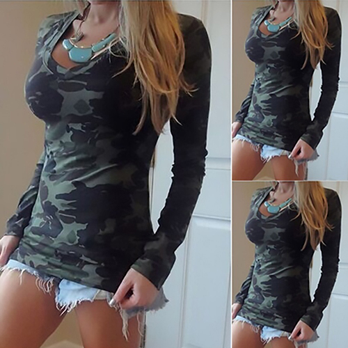 Women's Fashion Casual Camouflage Long Sleeve T-shirt Tee Top