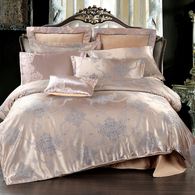 Home Textiles Light Tan Gray Jacquard Bedding Set High Quality Tribute Silk 4pcs Duvet Cover Bed Sheet Pillowcase