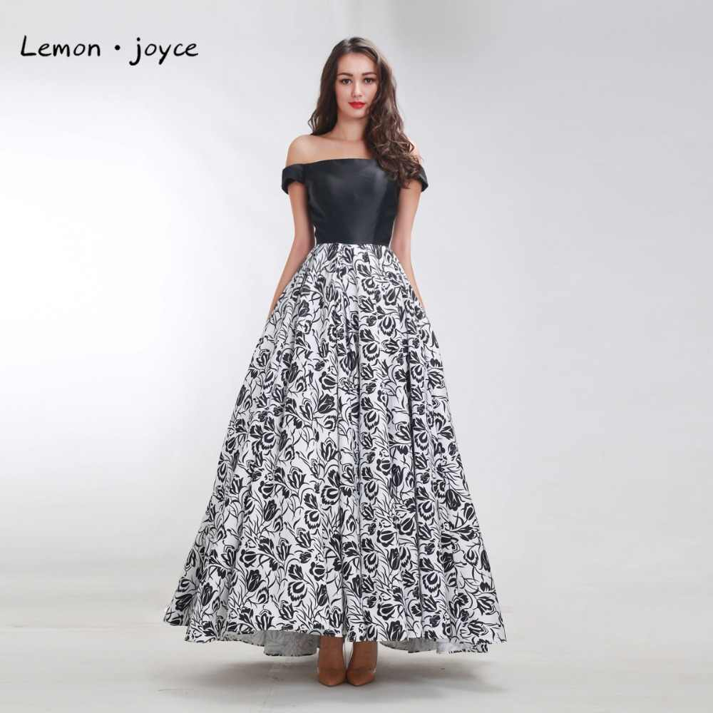 Vintage Prom Dresses 2019 New Dasign Boat Neck Sleeveless Flower Pattern  Dress Long Party Maxi Formal Gowns Plus Size Black
