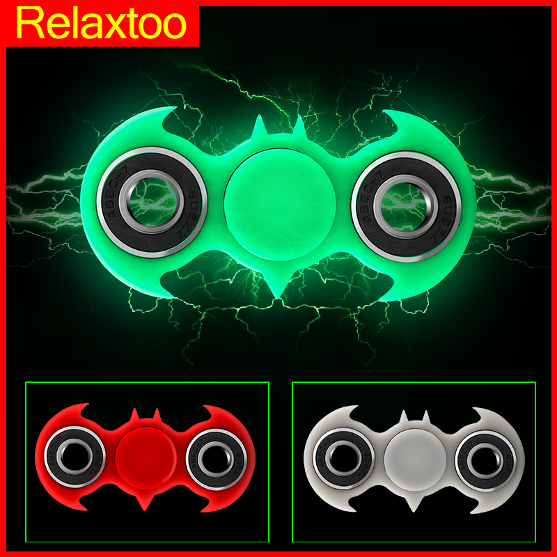 Batman Spiderman Hand Spinner Luminous Tri Fidget Glowing Light In Dark Finger Spinners