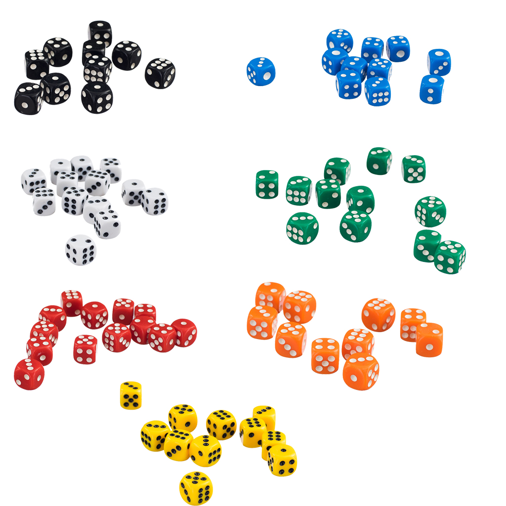 New Hot 50 x 12mm Opaque Six Sided Spot Dice Games D6 RPG Entertainment Gambling Dice Party Games Supplies Accessories colorful 14mm 10pcs set acrylic transaprent d6 dice 6 sided gambling red blue green yellow purple dice for drinking board game