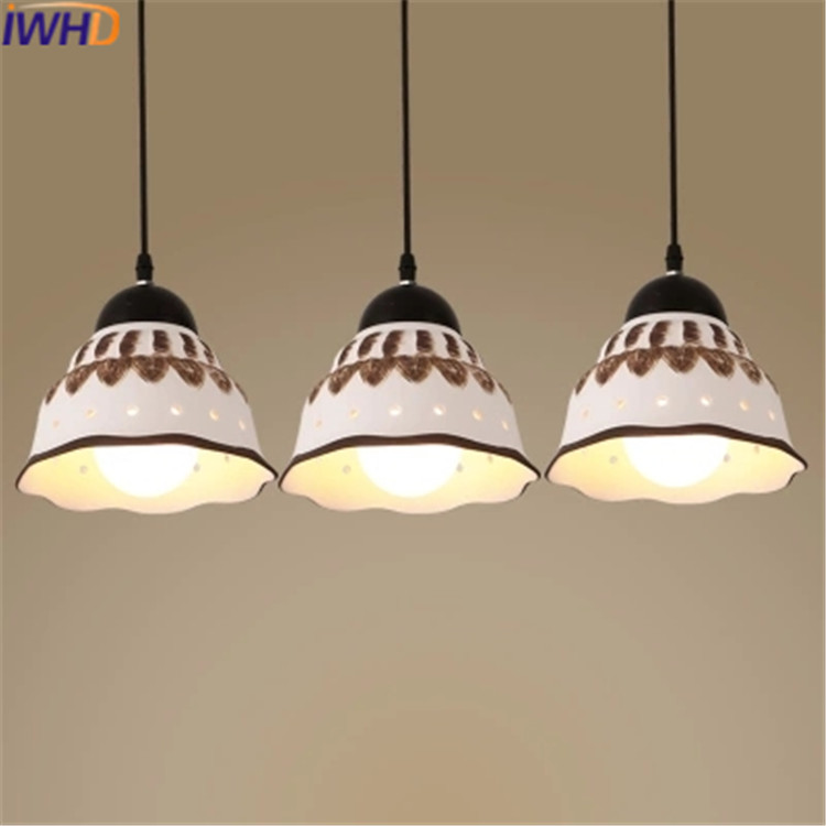 IWHD Ceramic Pendant Lamp Lamparas de techo colgante moderna Dining Room Suspension Luminaire Home Lighting Fixtures Hanglamp iwhd led pendant light modern creative glass bedroom hanging lamp dining room suspension luminaire home lighting fixtures lustre