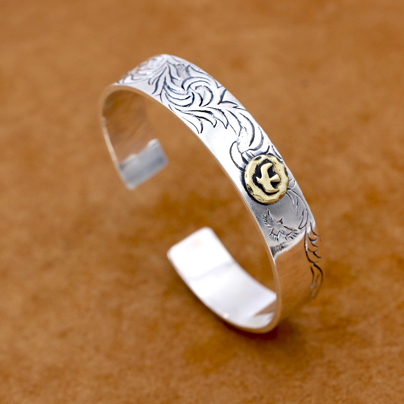Wholesale S925 Sterling Silver Jewelry Vintage Thai Silver Takahashi Bangle Creative Eagle Simple Men