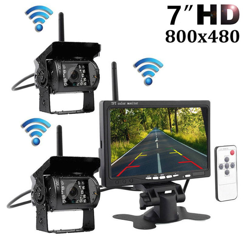 Wireless HD 7 LCD Color TFT RV Truck Trailer Bus Rear View Monitor+ Night Vision Infrared Weatherproof Rearview Backup Camera stylish capital letters and quadrate embroidery pu baseball cap for women