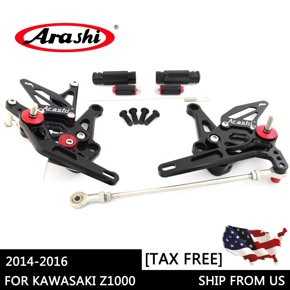 Arashi Shipped From The USA For KAWASAKI Z1000 Z 1000 Z1000SX 14-16 CNC Rearset Foot Pegs Rear Rest Adjustable Footrest Black