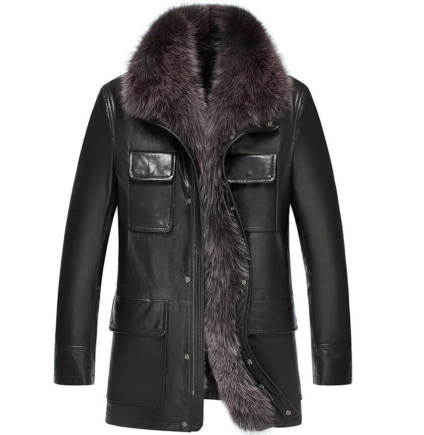 High Quality Fox Collars Men Genuine Leather Winter Jacket  Long Fur Men's Winter Coat Male Real Sheepskin Coat