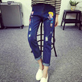 Free shipping women spring autumn denim pants cartoon print holes jeans ladies full length jeans blue pants calca feminina 5XL