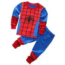 Одежда для маленьких мальчиков Детский пижамный комплект из 100% хлопка, детские пижамы премиум-класса Детский комплект с рисунком Человека-паука с длинными рукавами