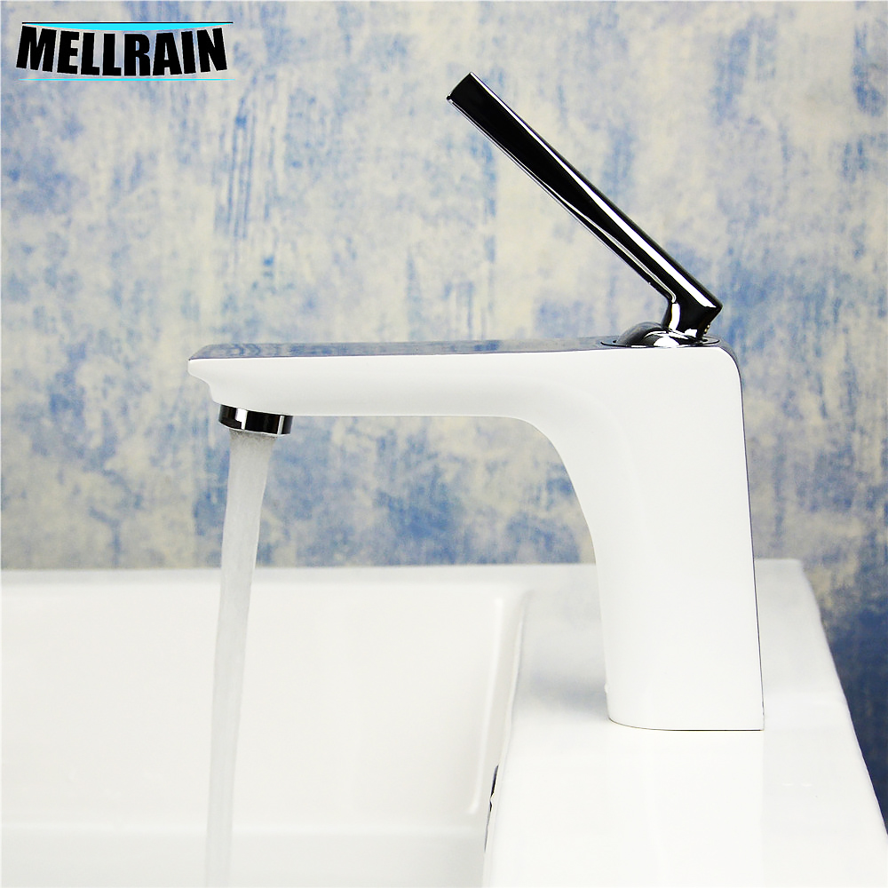 NºWhite & chrome bathroom basin faucet brass polishing single hole ...