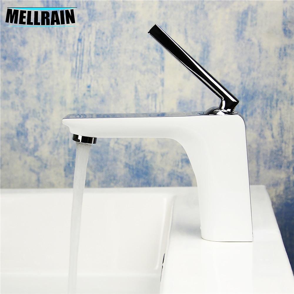 White Chrome Bathroom Basin Faucet Brass Polishing Single Hole Mirror White Paint Bathroom