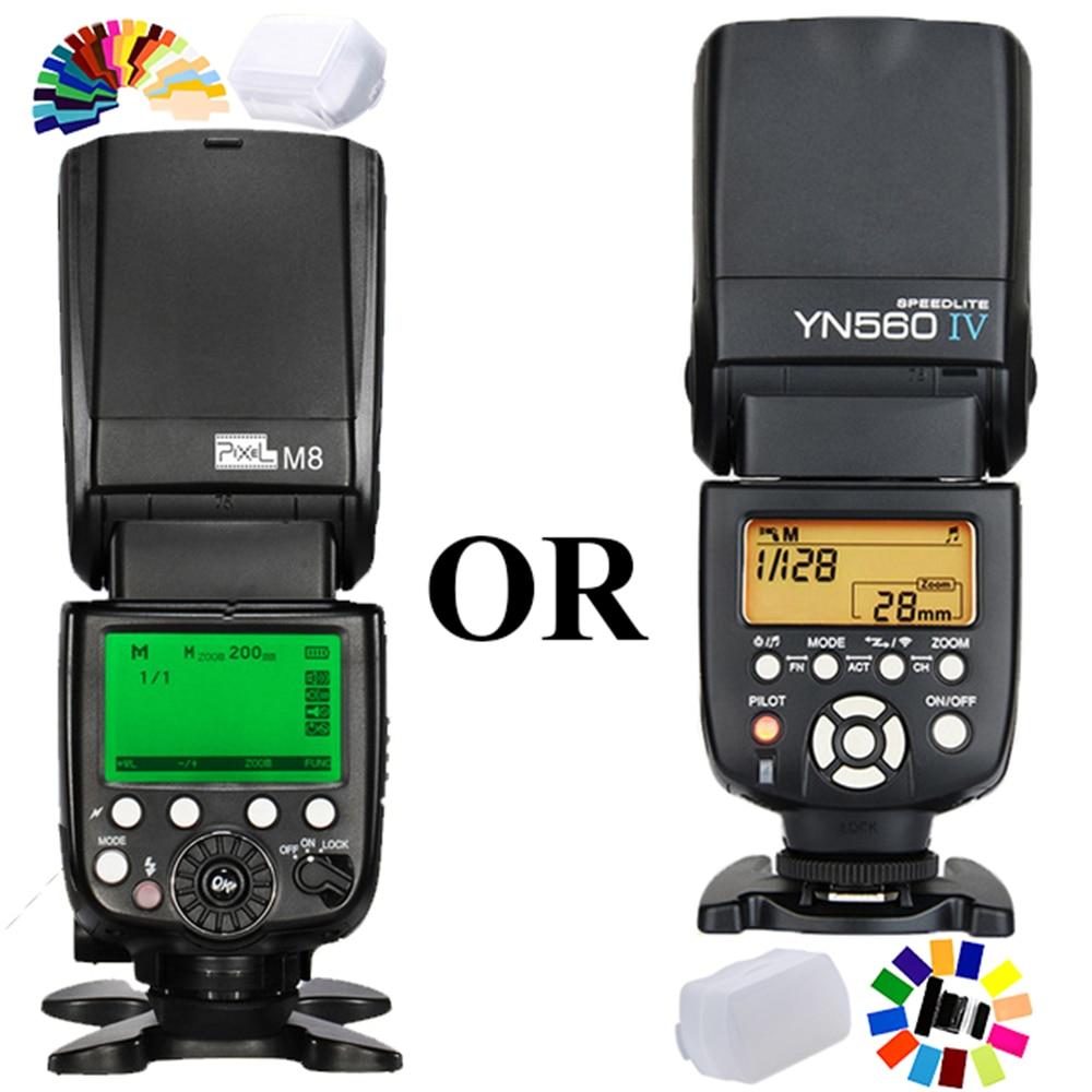 Universal Flash Speedlite Pixel M8 Or YN560IV YN 560 IV YN-560IV Wireless Flash Speedlight for Canon Nikon Pentax Olympus DSLR