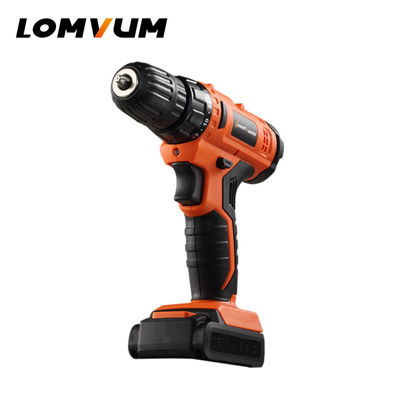 LOMVUM 12V Cordless Drill Rechargeable Lithium/ Li-ion Battery Electric Drill household screwdriver 30a 3s polymer lithium battery cell charger protection board pcb 18650 li ion lithium battery charging module 12 8 16v