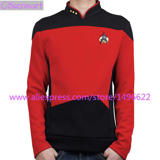 US $38 0 5% OFF|Star Trek TNG The Next Generation Red Shirt Uniform Cosplay  Costume For Men Coat Halloween Party Prop-in Movie & TV costumes from