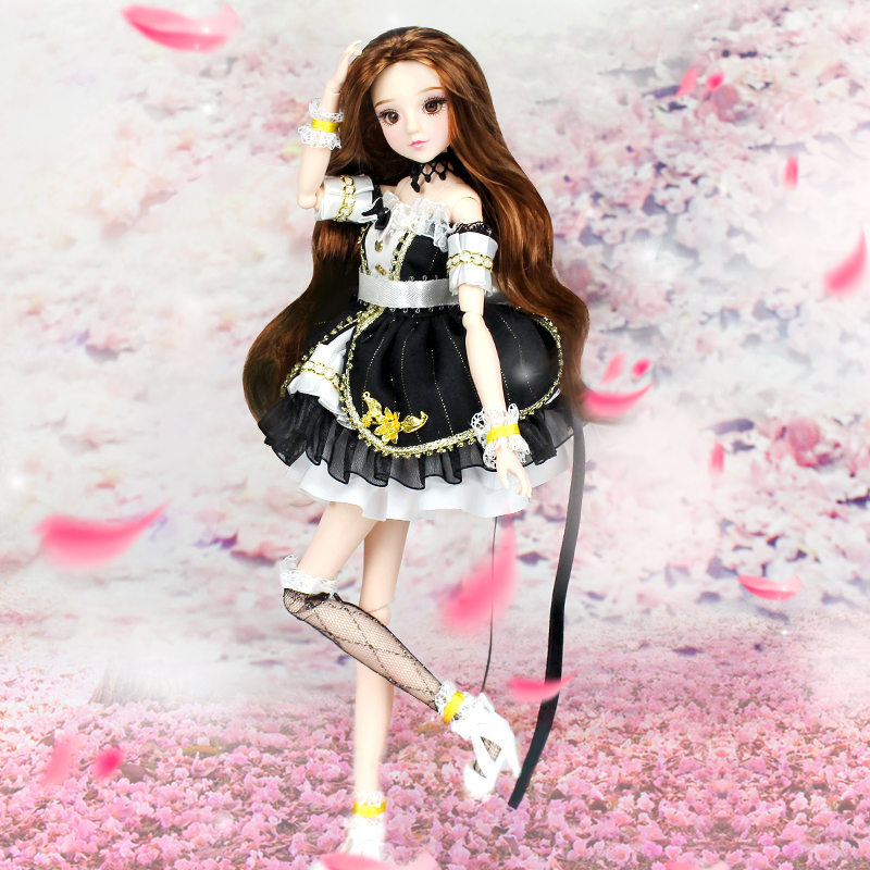 BJD Doll MMGirl Taurus 12 Constellations Series Joint Body with Black Outfit Legging Shoes and Doll