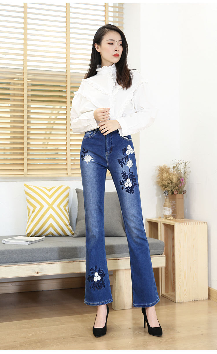 KSTUN FERZIGE Women Jeans High Waist Bell Bottoms High Waist Winter Heat Insulated Thickness Embroidery Mom Denim Slim Pants Flared 11