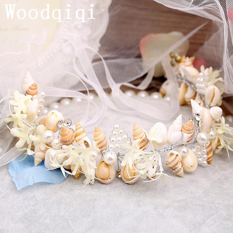 woodqiqi nueva moda corona de lujo barroco exagerado shell flor de la venda de imitacin perla