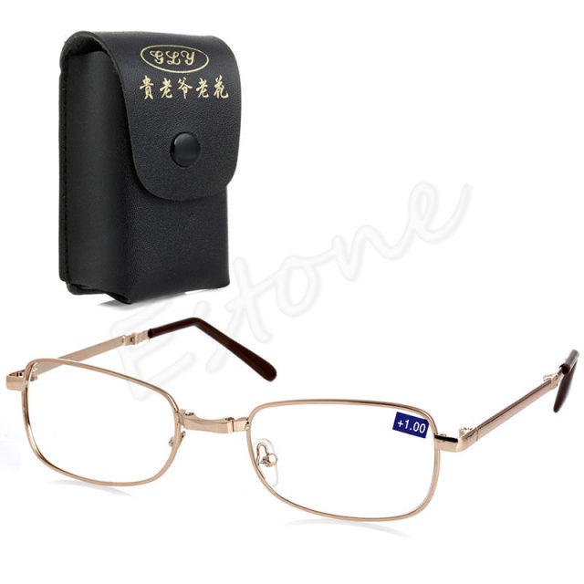 Free delivery Folding Metal Reading Glasses +1.00 1.50 2.00 2.50 3.00 3.50 4.00 Diopter + Case