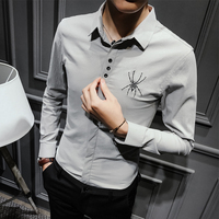The New Han Edition Of The South Korean Of The Trend Embroidery Male British Handsome White