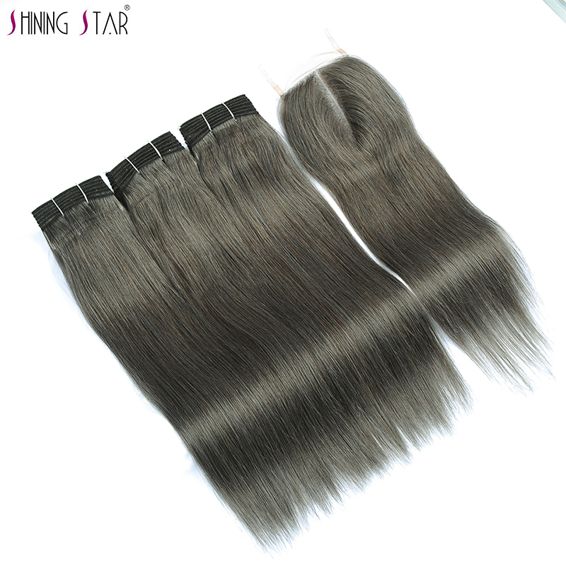 Shining Star 3 Grey Human Hair Bundles With Closure Pre-Colored Linen Gray Malaysian Straight Hair Bundles With Closure Non Remy