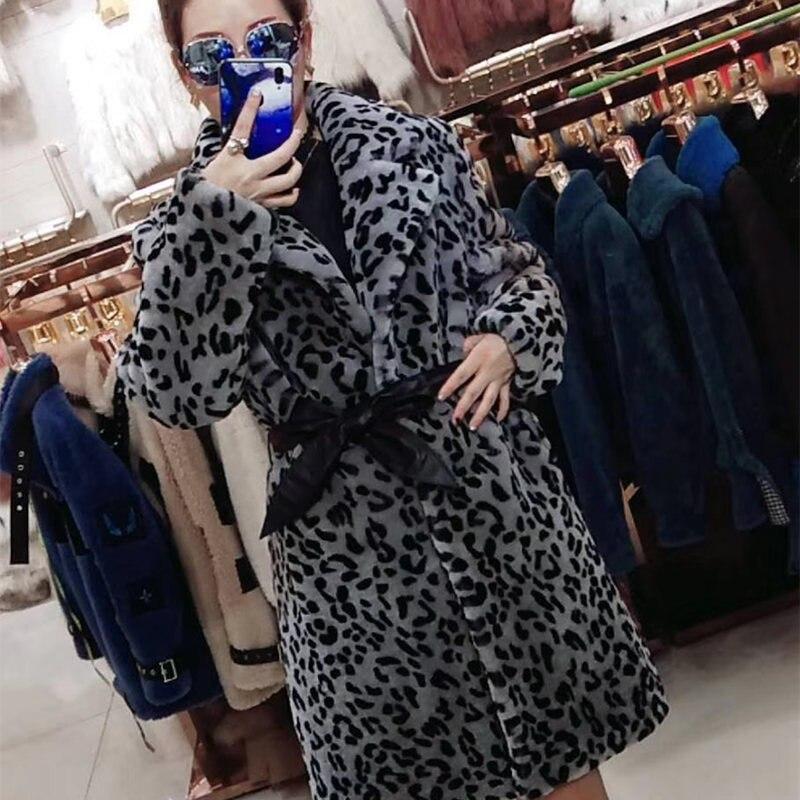 Coffee Mouton 2018 Color gray En Réel Naturel Manteau Luxe Outwear Peau Femme Fourrure Léopard Moutons Veste De Ceinture Imprimé Femmes Avec xCUfYHqw