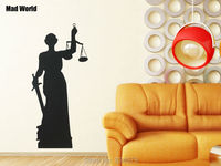 Justice Woman Statue Of Themis Wall Art Stickers Decal Wall Art Home Decoration Wall Sticker Removable