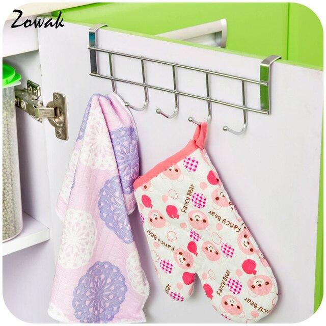 Schrank 5 Haken Küche Rack Organizer Bad Küche Handtuch Aufhänger Lagerung  Haken Hängen Tür Edelstahl Halter
