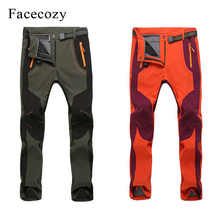 2018 New Men Women Autumn Winter Warm Outdoor Hiking Pants Softshell Fleece Waterproof Windproof Trousers for Climbing Fishing 2018 new fishing clothing men and women autumn winter waterproof warm fishing jackets patchwork hooded mountaineering suits